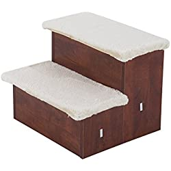 Pawhut Two Step Portable Pet Stairs for Cats and Dogs w/ Storage Compartments