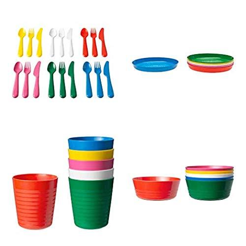 New IKEA Kalas 36-Piece Dinnerware Set, Solid Multi Color, BPA Free