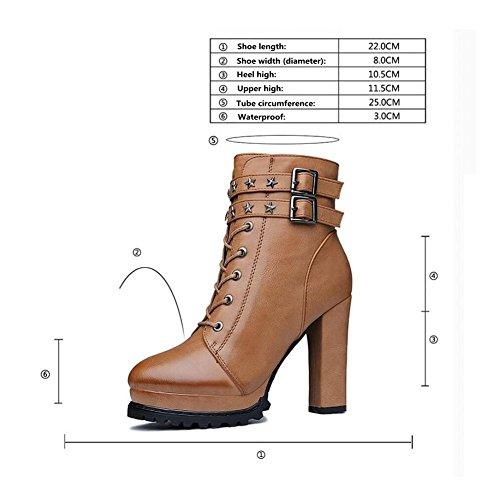 Piattaforma alta moda donna tacco alto stivali fibbia Stivali stivaletti alla caviglia Martin , brown , 36