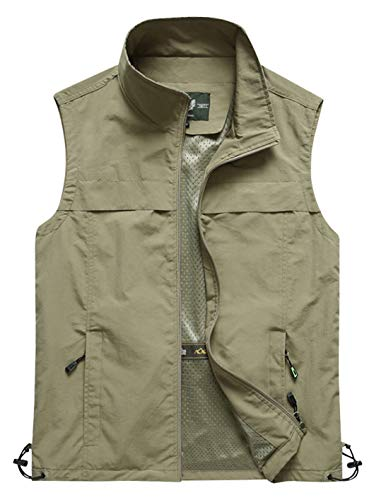 Gihuo Men's Lightweight Quick Dry Outdoor Multi Pockets Fishing Vest (Large, Style3-Khaki)