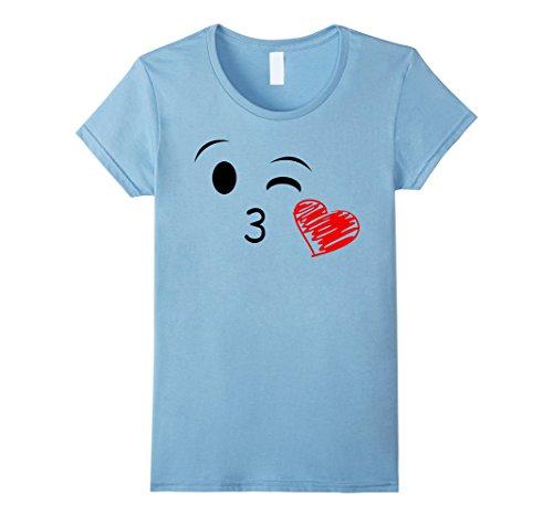 Costume On Grandma's Baby Back (Womens Kissing Face Emoji T-Shirt Medium Baby)