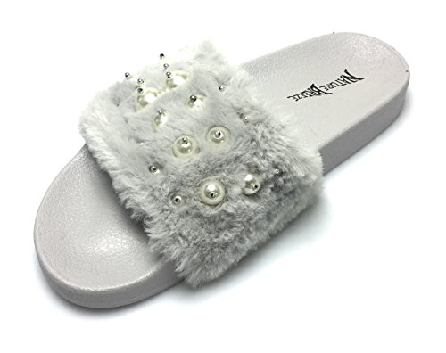 Pantofola Flatform Sfoderata Da Donna - Vasca Da Bagno Casual Outdoor - Sandalo Rampicante Peloso - Perla Su Grigio Pelliccia