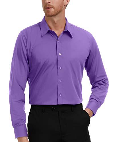 Big and Tall Dress Shirt for Men Long Sleeve Purple Casual Shirt 2XL