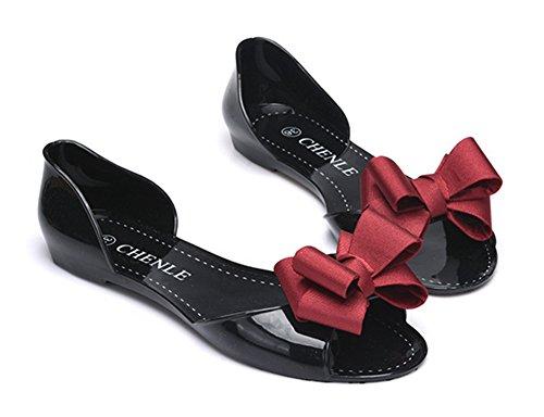Mode Femme Noeud Aisun Sandales Basse Rouge Avec Bout Vineux Ouvert 5OSwdqZ