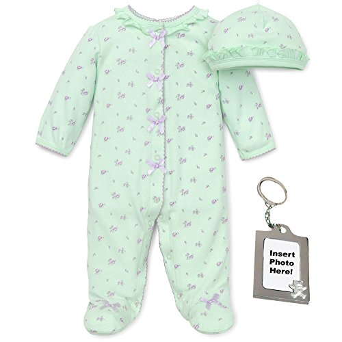 Little Me Girls Rose Floral Footed PJ's, Baby Hat and Keychain 6 Months, Green -