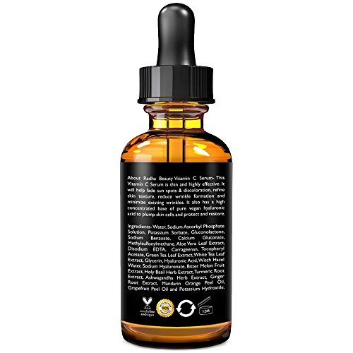 Radha Beauty Vitamin C Serum for Face, 2 fl. oz - 20% Organic Vitamin C + E + Hyaluronic Acid for Anti-Aging, Wrinkles, and Fine Lines - For Radiant and Healthy Skin by Radha Beauty (Image #2)