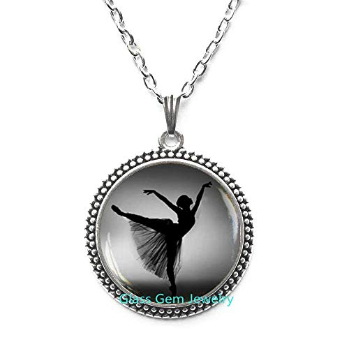 Ballerina Silhouette Pendant,Ballerina Necklace,Photo Ballerina Jewelry,Dancer Silhouette Art Pendant,Black White Ballet Dancer Necklace,Q0119 (Y1)