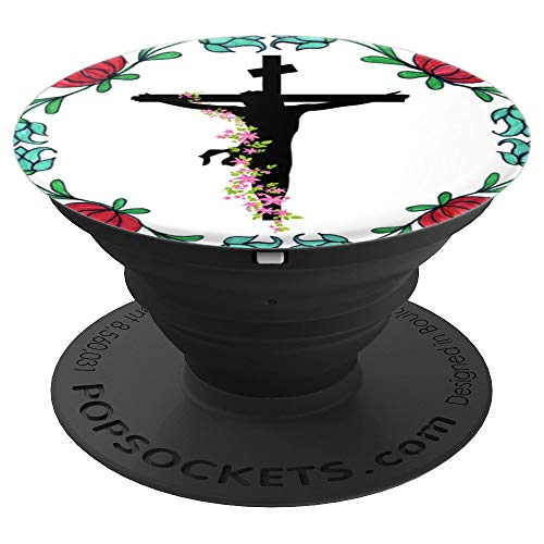 (Christian Religious Jesus Cross Forgiveness Day Gift Floral  PopSockets Grip and Stand for Phones and)