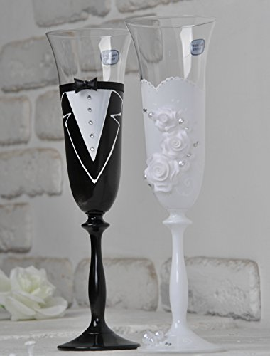 Unity Pearl Candle (Wedding Champagne |Toasting Flutes |Wedding accessories |Glasses for bride and groom |Banquets |Glasses for His and Hers |Wedding décor id |Bride and Groom Design Champagne Flutes |set of 2)