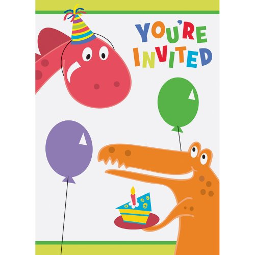 8 Piece Party Invitations (Dinosaur Party Invitations, 8ct)