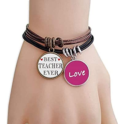 FerryLife Best teacher ever Quote Respected Love Bracelet Leather Rope Wristband Couple Set Estimated Price £9.99 -