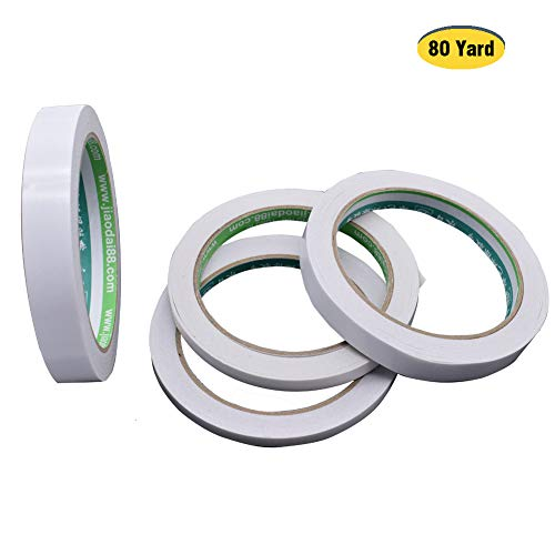 4 Rolls Double Sided Tape Sticky Removable for Office Boxes Masking, Cloth Gifts Cards Wrapping, Scrapbook Photos Crafts Wallpaper Mounting (20 Yards Each Roll, Width 1/4, 1/3, 1/2, 5/9 inch)