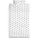 Toddler Bedding, Twin Duvet Quilt Cover 2pc Set Star Print 100% Cotton, Kids Bedding (Darkest Grey)