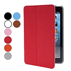 AES - Exquisite Design PU Leather Case with Stand, Hand Grip and Sound Enhancement for iPad mini(Assorted Colors) , Red