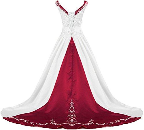 APXPF Women's V Neck Embroidery Wedding Dress Chapel Train White and Burgundy