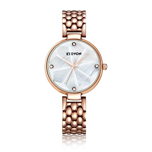 ETEVON Women's 'Snowflake' Analog Watch with White PearlShell Dial and Rose Gold Bracelet Waterproof, Fashion Dress Wrist Watches for Women