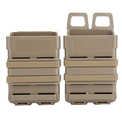 GLOGLOW 3 Colors Tactical Fast Mag Pouch, ABS Magazine Pouch Molle Strike System 5.56 Mags(Tan)
