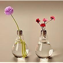 Qingsun Light Bulb Shape Glass Vase Transparent Glass Vase Flower Plant Hydroponic Container Pot Garden Decoration Vase