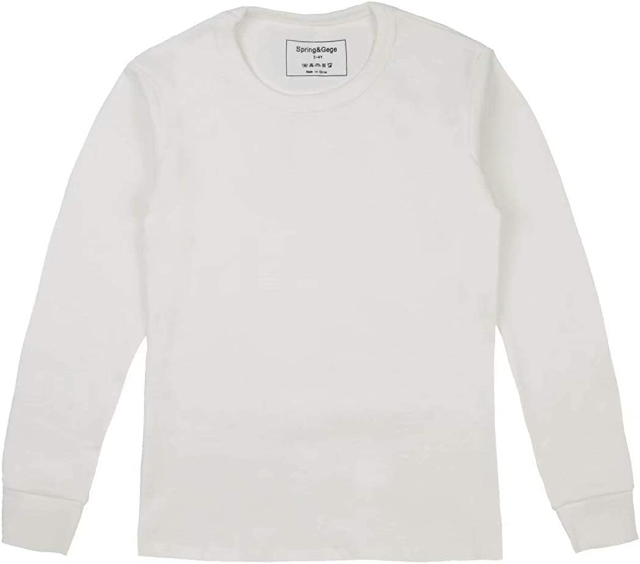 Spring/&Gege Girls Long Sleeve Cotton T-Shirts Kids Solid Crew Neck Tees