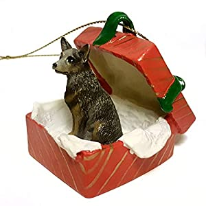 Eyedeal Figurines Blue Heeler Australian Cattle Dog Sits in a RED Gift Box Christmas Ornament New RGBD87B 5