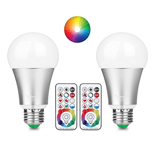 Lemonbest 2pcs Upgraded LED Mood Light Lamp Dimmable E27 RGB White Color Changing Light Bulb with DIY remote control, 60W Incandescent Lamp Equivalent, Timing Function