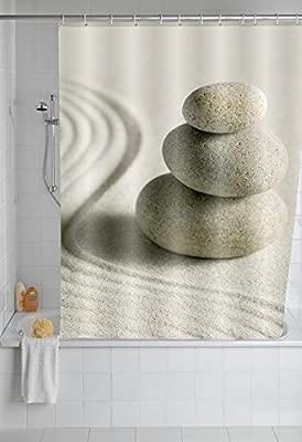 Poli/éster Wenko Cortina de Ducha Sand and Stone 180x200x3 cm