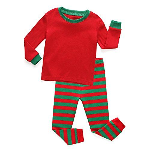 TinaLuLing Kids Red&Green Striped Pajamas Sets Blankets 2pc Cotton Sleepwear -
