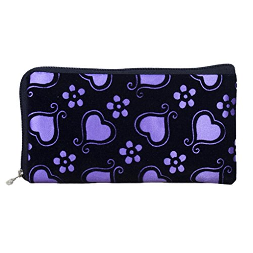 Womail Women Long Zipper Heart Wallet Card Coin Change Holder Handbags (Purple)
