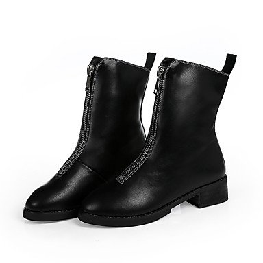 Flat Fashion Women's amp; Heel PU Boots Zipper Boots Party Outdoor Microfiber Synthetic Evening Casual amp;xuezi Office Gll Winter amp; Black Career Dress Novelty fxWnROFO
