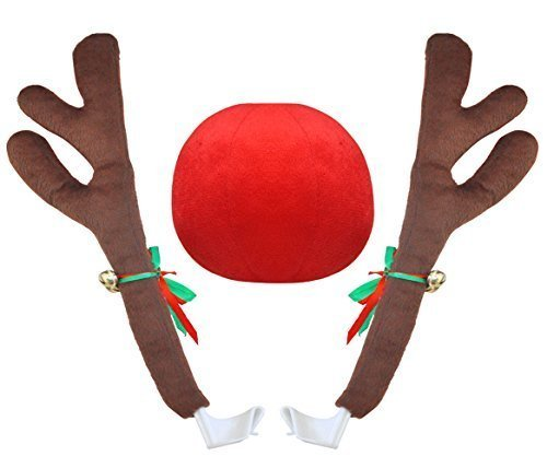 Goodybuy Christmas Car Costume Decoration Plush Rudolph Reindeer Antlers & Red Nose Set, 45cm Tall