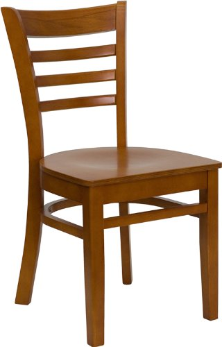 Flash Furniture HERCULES Series Ladder Back Cherry Wood Restaurant Chair 0.625' Wall