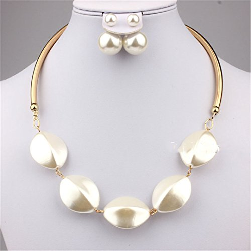 Imitation Pearl Jewelry Sets Women Wedding Collar Necklace Earrings African Bridal Bijoux Party Mother Gift MN528S