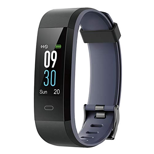 I-SWIM Fitness Tracker,Colour Screen Activity Tracker Waterproof IP68 Pedometer Watch with Heart Rate Monitor,Calorie Counter,Sleep Monitor,Smartwatch for Women for Android iOS (Black&Grey)