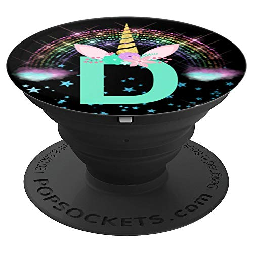 Unicorn Monogram Initial D Pop Socket Gift for Girls Women - PopSockets Grip and Stand for Phones and Tablets