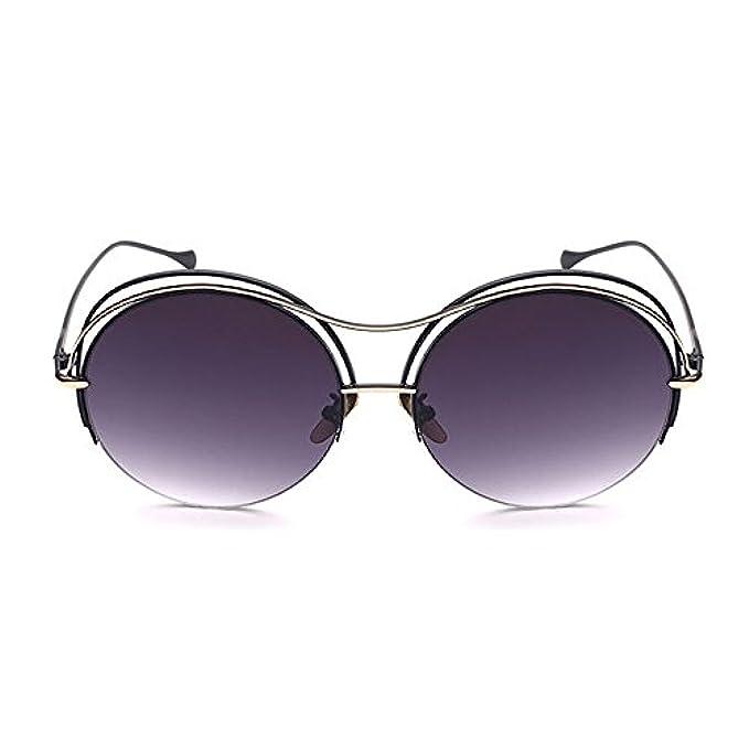 Da Occhiali Grazioso Donne Le Montatura colore Y-weifeng Tondo Metallo Uv Per Sole Grigio Protezione Con In Bicchieri