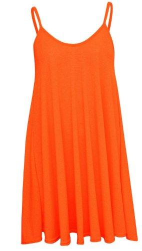 Plus sans Size Femmes long Orange 50 Nouveau bretelles 36 Pickle Cami Chocolate robe manches swing Haut Mini xAq0Tftxw