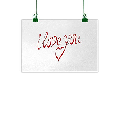 Unpremoon I Love You Canvas Wall Art Picture Swirling Letter Fonts in Red Color with Heart Shaped Dots Calligraphy Design Wall Art Kitchen Red White W 24