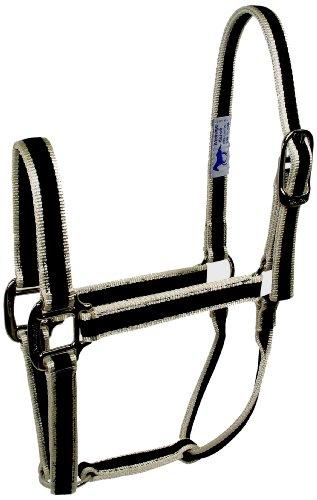 Hamilton 1-Inch 3-Stripe Fashion Nylon Quality Horse Halter, 800 to 1100-Pound, Ecru