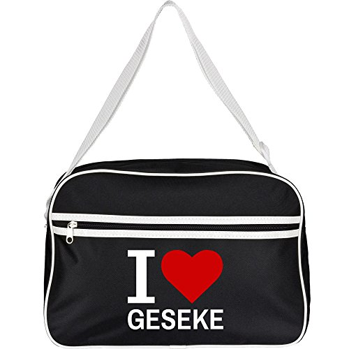 Retrotasche Classic I Love Geseke schwarz