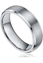 6MM Tungsten Metal Dome Brushed High Polished Beveled Edge Comfort Fit Wedding Band Ring Size 4-13