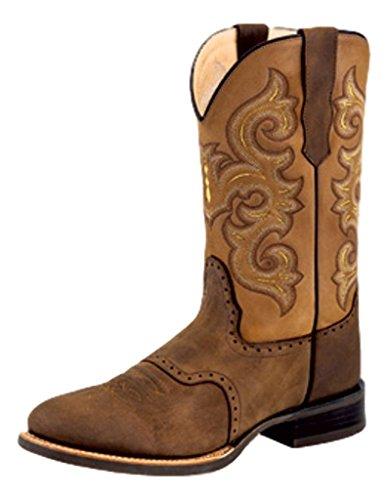 sports shoes 4aebd 95909 Vieux Ouest Cow-boy Botte Hommes Caoutchouc Large Ronde Main Cordon  Chocolat 5705 Chocolat Nubuck. chaussures