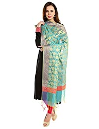 Dupatta Bazaar Women's Benarasi Silk Woven Sea Green & Gold dupatta