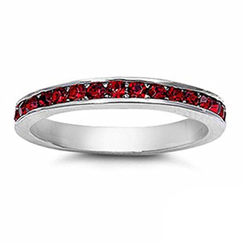 3mm Channel Set Full Eternity Wedding Band Ring Round Simulated Red Garnet 925 Sterling Silver, Size-6 ()