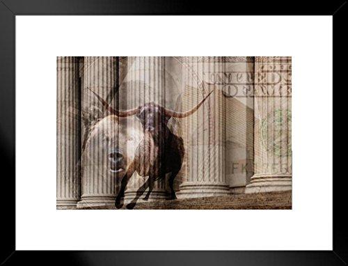 Poster Foundry Bull Bear Money Wall Street Columns Photo Art Print Matted Framed Wall Art 26x20 inch ()