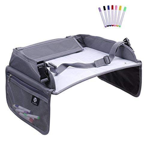 K4 Dynamics Kid's Activity and Play Travel Tray - Portable Car Seat Lap Table for Children, Kids and Babies - Dry Erase Top for Drawing with Markers - Mesh Pockets for Toys, Snacks and Tablets