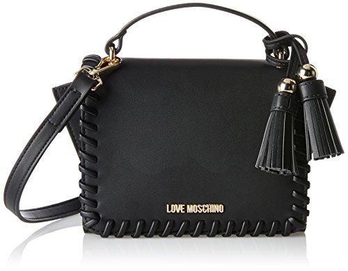 Love Moschino Borsa Calf Pu Nero - Borse Baguette Donna, Schwarz (Black), 14x23x9 cm (B x H T)