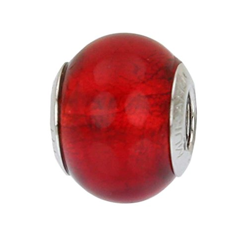 Murano Glass Bead Bracelet - GlassOfVenice Murano Glass Sterling Silver Red Charm Bead
