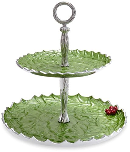 Julia Knight 5635023 Holly Sprig Tiered Cake Stand, One Size, Mojito