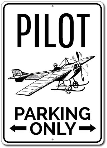 Parking Personalized Signs No (Iliogine Pilot Parking Only Sign Personalized Airplane Arrows Gift Aviator Aviation Lover Man Cave Garage Decor Room Sign Wall Art Decor Aluminum Metal Street Tin Sign)
