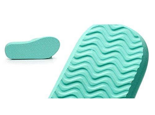 YOUJIA Mujeres Boho Flores Chanclas Verano Playa Zapatos de cuña Plataforma Zapatillas #5 Verde